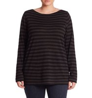 Eileen Fisher Plus Size Striped Merino Wool Top