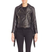 Elie Saab Long Sleeve Leather Jacket