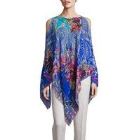 Etro Floral Paisley Cold Shoulder Silk Poncho