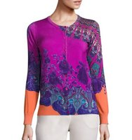 Etro Mandalla Floral Stretch Silk Knit Cardigan