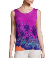 Etro Mandalla Floral Stretch Silk Shell