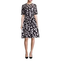 Lela Rose Holly Elbow Sleeve Shattered Fil Coupe Dress