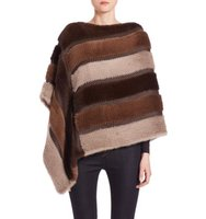 Trilogy Striped Knit Mink Poncho