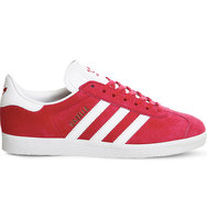 Adidas Gazelle Lace Up Suede Trainers Pink white gold
