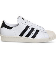 Adidas Superstar 80s Textured Leather Trainers Black off white croc