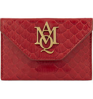 Alexander Mcqueen AMQ Insignia Python Embossed Leather Envelope Card Holder Ruby