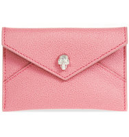Alexander Mcqueen Skull Leather Envelope Card Holder Vanity pink