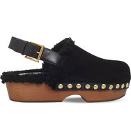 Alexander Mcqueen Slingback Leather Clogs Black