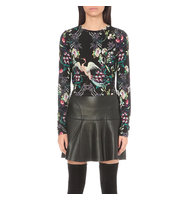 Alice Olivia Delaina Printed Cropped Top Mythical green