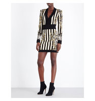 Balmain Baroque Print Knitted Dress Noir blanc or