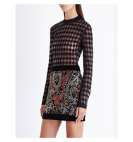 Balmain Harlequin Pattern Knitted Top Noir