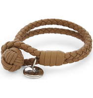 Bottega Veneta Double Woven Leather Bracelet Camel new