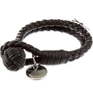 Bottega Veneta Double Woven Leather Bracelet Expresso