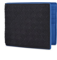 Bottega Veneta Intrecciato Woven Leather Billfold Wallet Dark navy bluette