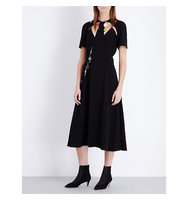 Christopher Kane Charm Embellished Cutout Crepe Dress Black