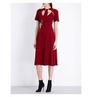 Christopher Kane Charm Embellished Cutout Crepe Dress Blood