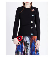 Christopher Kane Contrast Button Wool Jacket Black