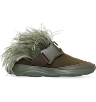 Christopher Kane Feather and Safety Buckle Slider Trainers Khaki
