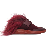 Christopher Kane Feather and Safety Buckle Slider Trainers Red dark