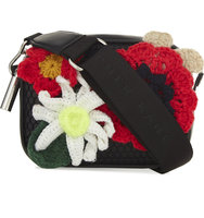 Christopher Kane Leather Mesh Body Flower Bag Black