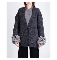 Christopher Kane Tweed Wool Blend Cardigan Iron