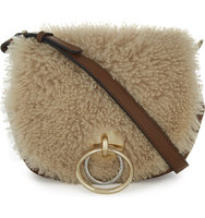 Diane Von Furstenberg Love Power Leather and Shearling Saddle Bag Tobacco natural