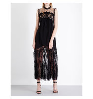 Elie Saab Sheer Panel Crepe and Lace Gown Black