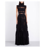 Elie Saab Striped Floral Lace Gown Black
