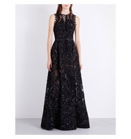 Elie Saab V Neck Sleeveless Sequinned Gown Black