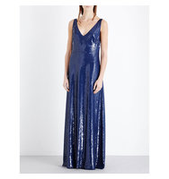 Emilio Pucci Sequin Embellished Silk Gown Blue