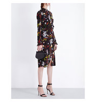Erdem Floral Print Silk Dress Black multi