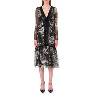 Erdem Floral Print Silk Organza Dress Black white