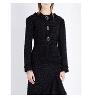 Erdem Karina Frayed Edges Tweed Jacket Black
