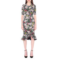 Erdem Lucy Floral Print Neoprene Jersey Dress Pink black
