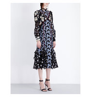Erdem Sadie Cotton Blend Dress Teal blue gold