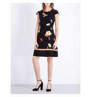 Etro Floral Print Silk Crepe Dress Black