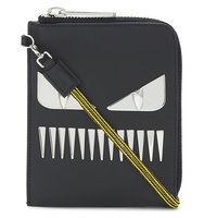 Fendi Monster Leather Pouch Black dagger mouth