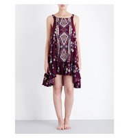 Free People Annka Border Poplin Slip Dress Purple combo