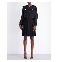 Givenchy Cape Back Silk Chiffon Dress Blk
