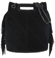 Maje Eiffel Suede Bucket Bag Black