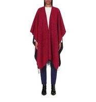 Maje Eva Fringed Wool Poncho Rouge
