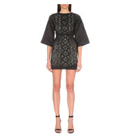 Maje Rebecca Embroidered Lace and Satin Dress Black