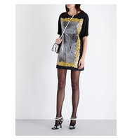 Moschino Baroque Logo Print Satin Mini Dress A1555