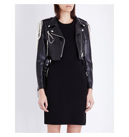 Moschino Embellished Faux Leather Biker Dress A2555