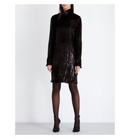 Nina Ricci Crinkled Velvet Dress Mahogany