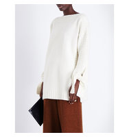 Pringle Of Scotland Cuff Detail Wool and Cashmere Blend Jumper Off white