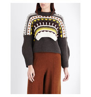Pringle Of Scotland Fair Isle Cashmere and Wool Blend Jumper Ochre airforce blue