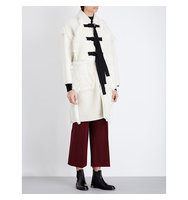Pringle Of Scotland Patchwork Sheepskin Cocoon Coat Off white