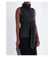 Pringle Of Scotland Sleeveless Wool and Cashmere Blend Jumper Evergreen