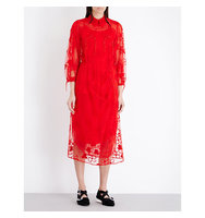 Simone Rocha Spooky Flower Embroidered Tulle Midi Dress Red